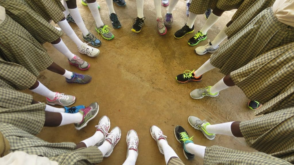 Our Lady of Grace School students with new shoes