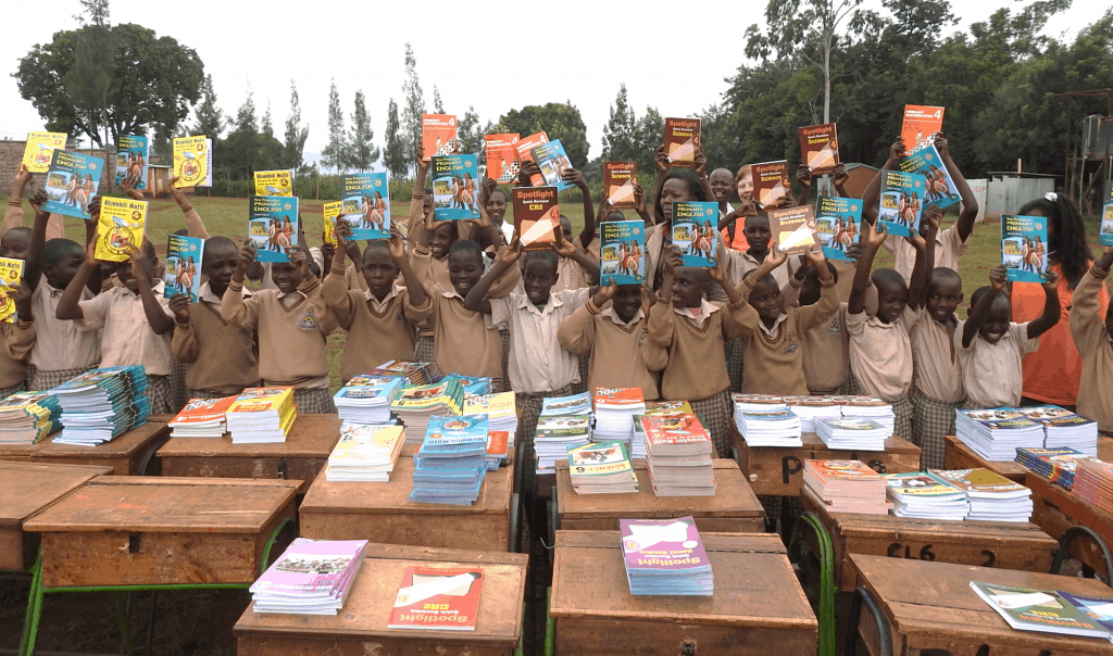 Our Lady of Grace School students with new books